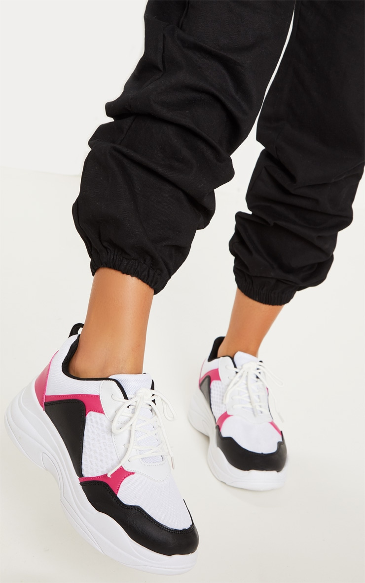 White And Pink Chunky Sneakers   Shoes