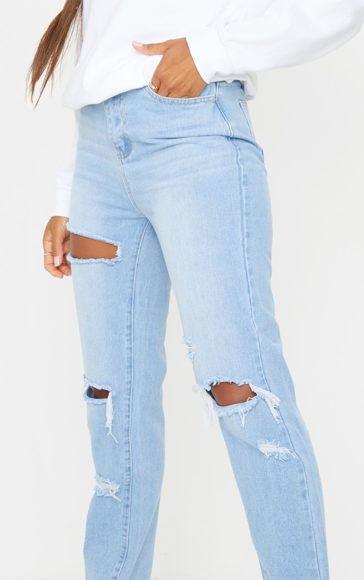 PRETTYLITTLETHING Light Blue Wash Distressed High Waisted Straight Leg Jean 4