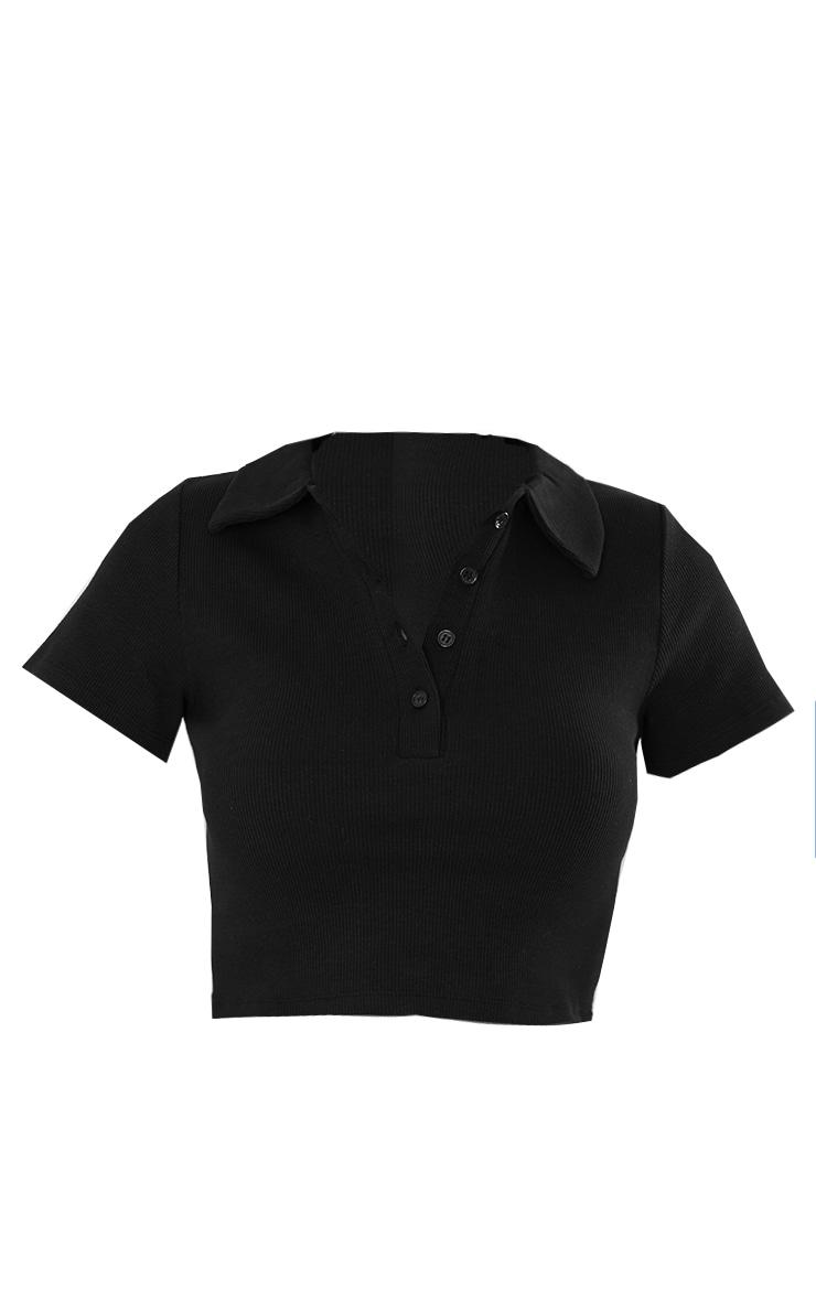 Black Rib Button Up Short Sleeve Polo Shirt 5