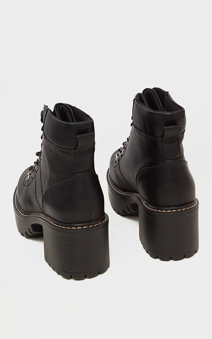 Black Cleated Platform Chunky Hiker Lace Up Ankle Boot 4
