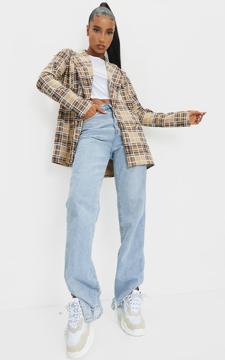 Brown Checked Triple Breasted Oversized Crepe Blazer 3