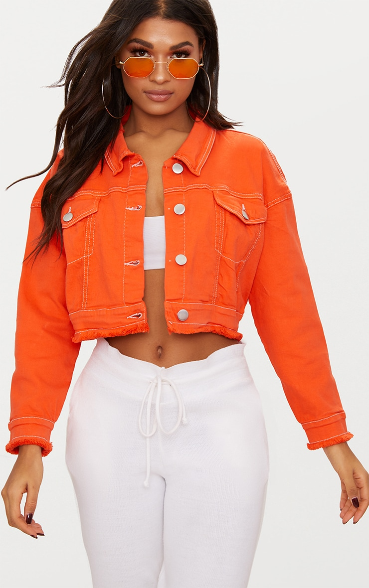 new styles 4fae7 eb9b1 Bright Orange Cropped Denim Jacket