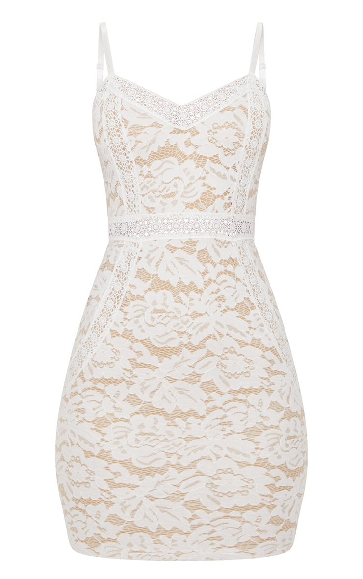 White Strappy Lace Contrast Bodycon Dress 3