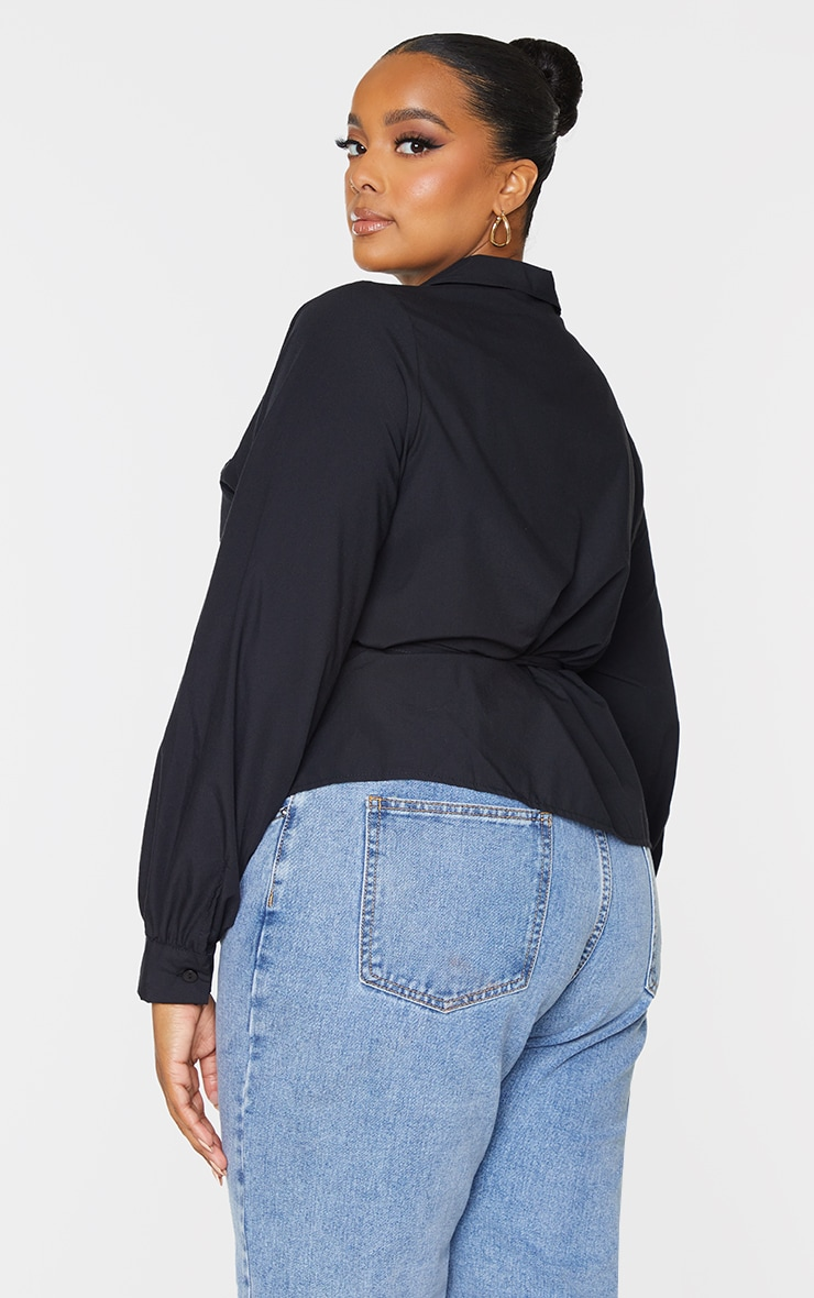 Plus Black Layered Wrap Around Shirt 2