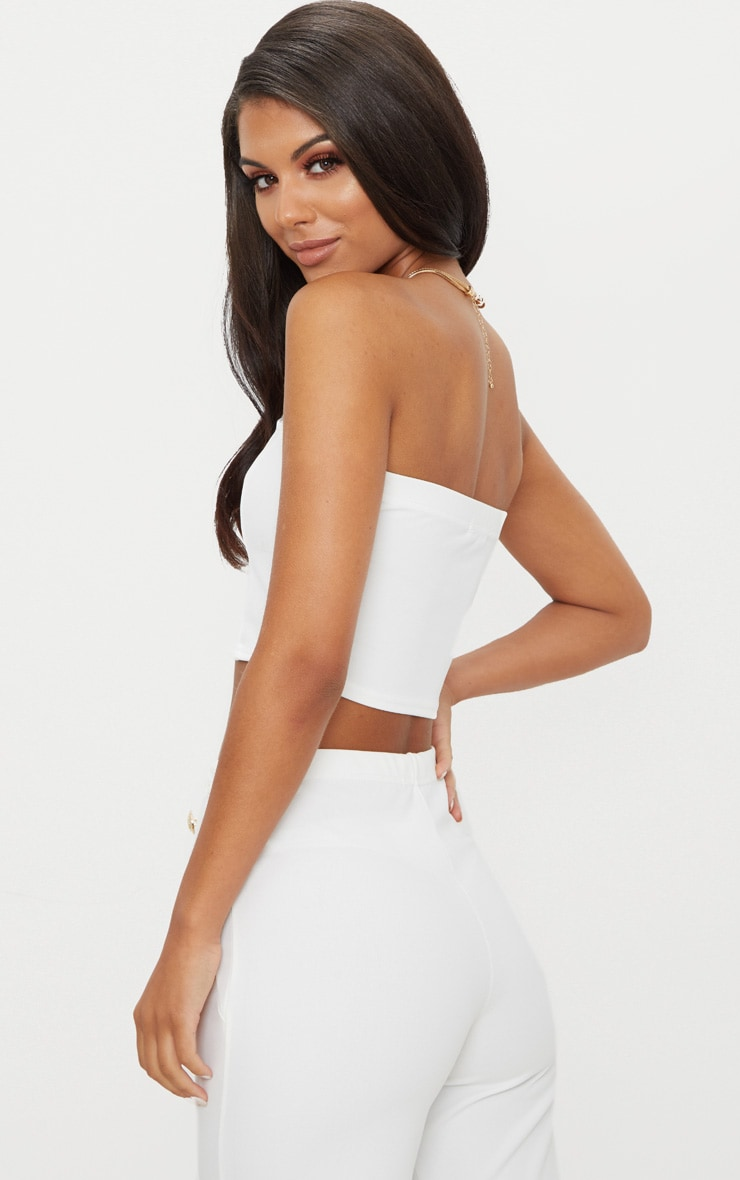 White Crepe V Bar Bandeau Crop Top 2