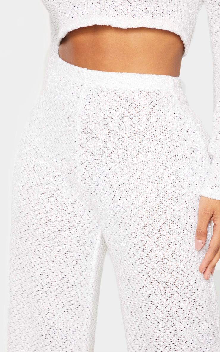 Shape Cream Textured Rib Wide Leg Pants 5