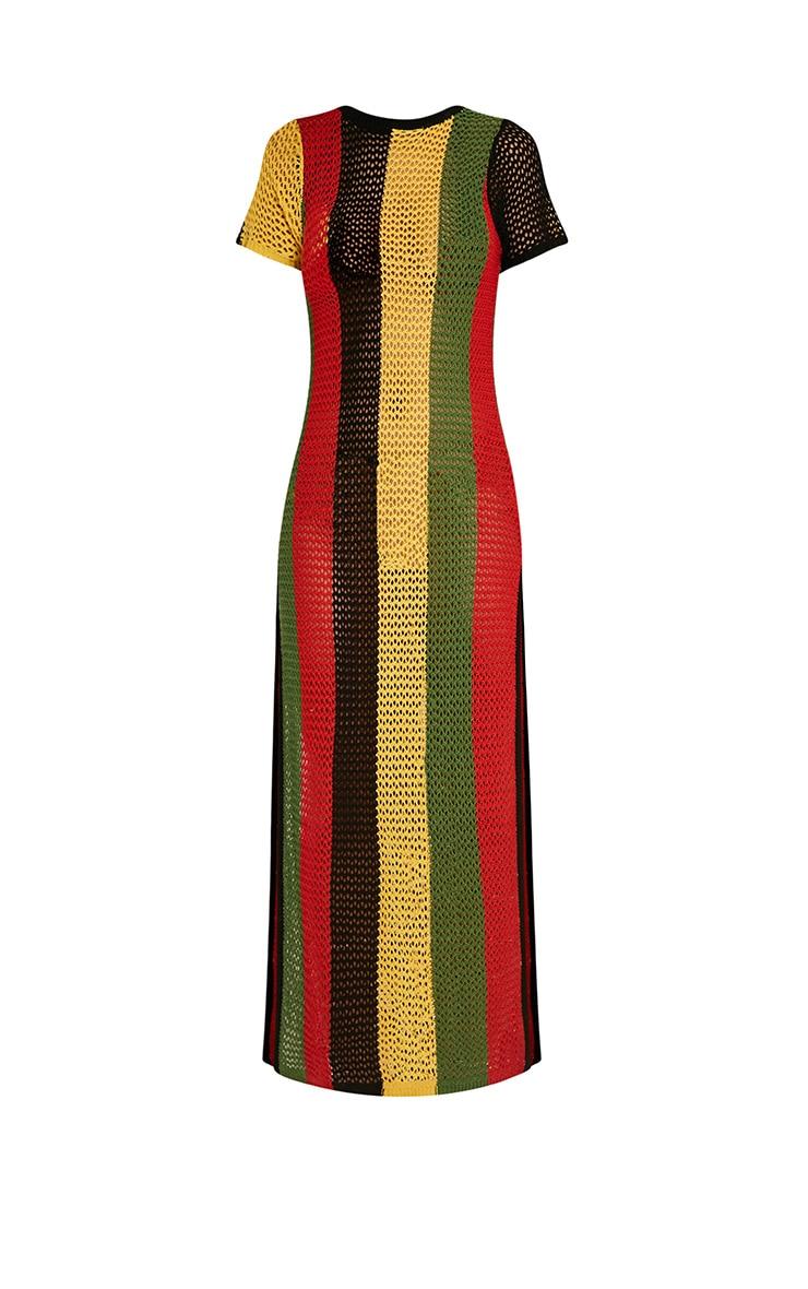 Riana robe maxi tricotée à rayures fendue sur le côté 4