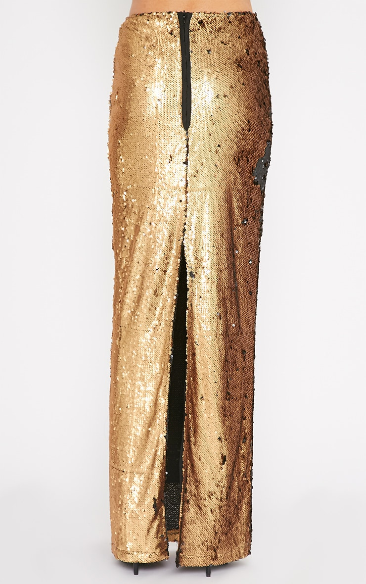 Aurora Gold Double Sided Sequin Maxi Skirt  2