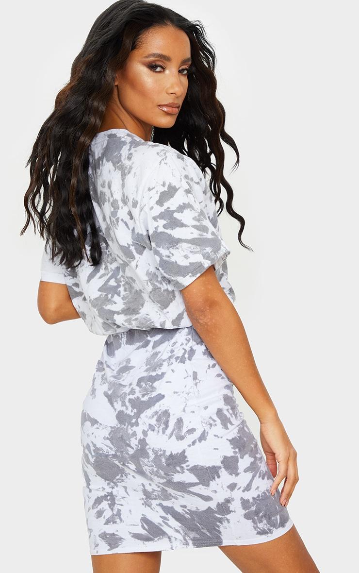 Charcoal Grey Tie Dye Elastic Waist T Shirt Dress 2