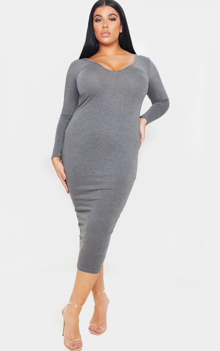 Plus Charcoal Jersey V Neck T- Shirt Midi Dress 1