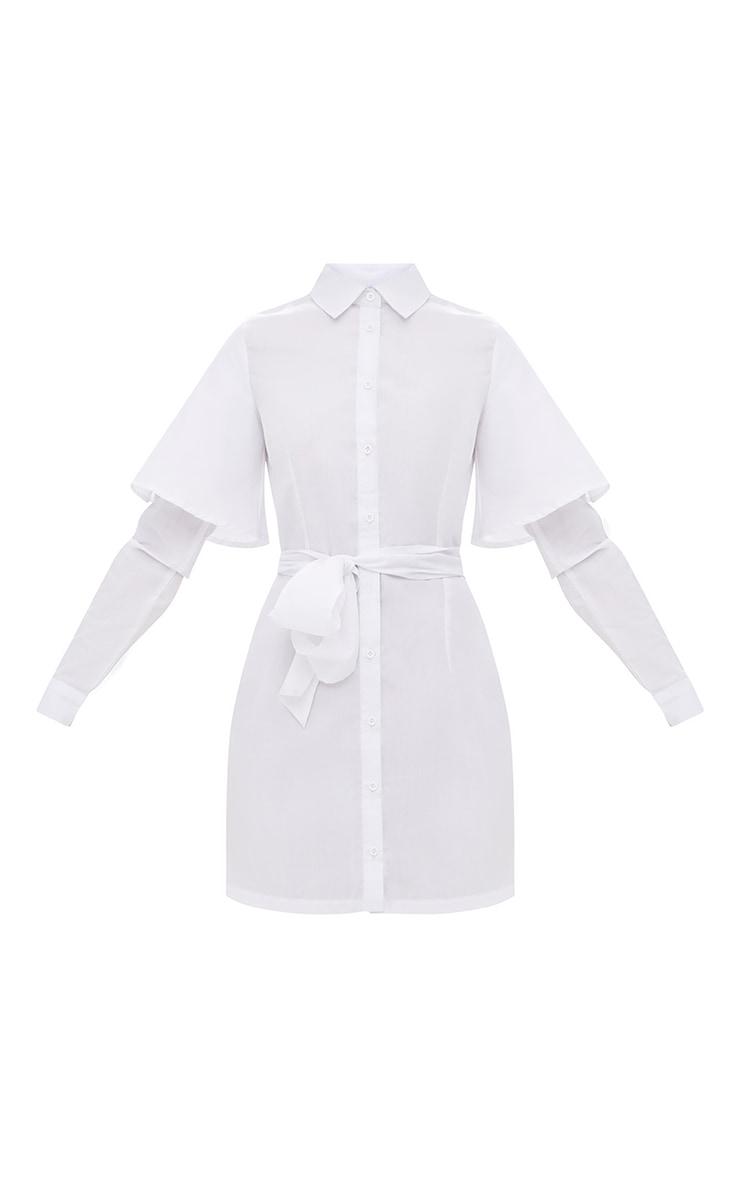 White Double Cuff Tie Waist Shirt Dress 4