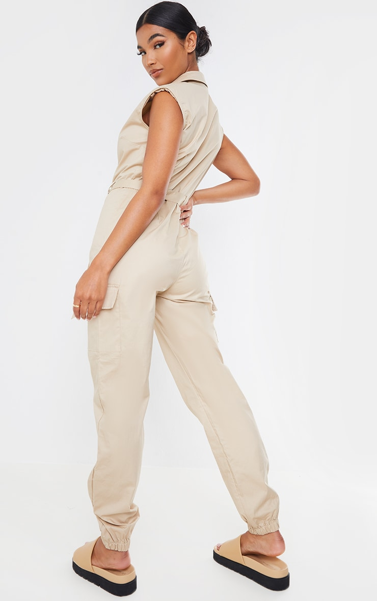 Stone Sleeveless Shoulder Pad Button Front Cargo Jumpsuit 2