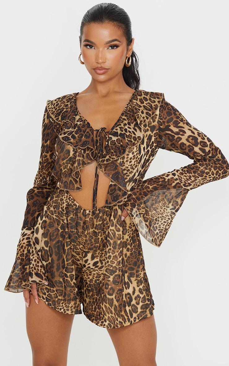 Tan Leopard Print Chiffon Frill Sleeve Romper 1