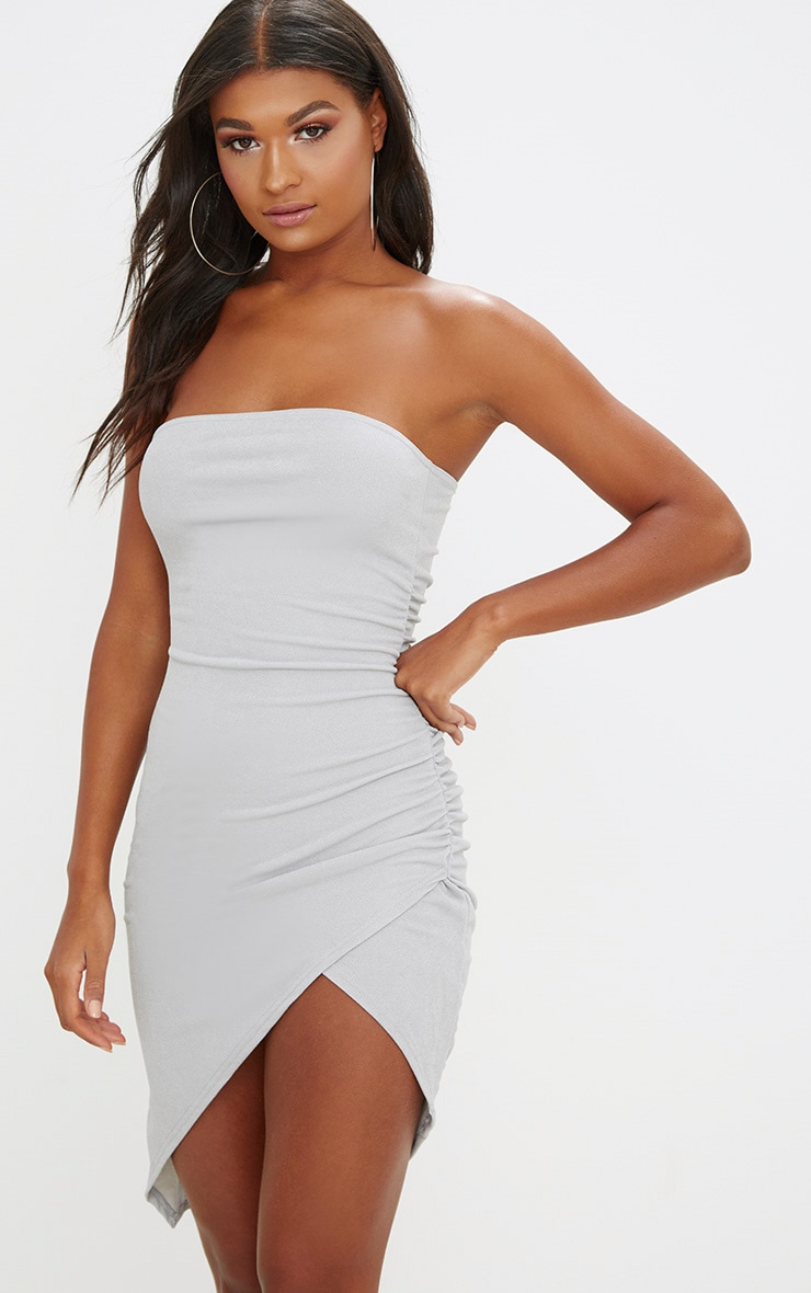 Ice Grey Bandeau Wrap Ruched Front Bodycon Dress 1