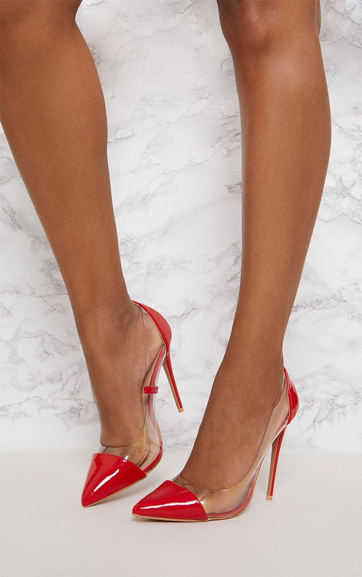 Red Patent Clear Court Shoes  2