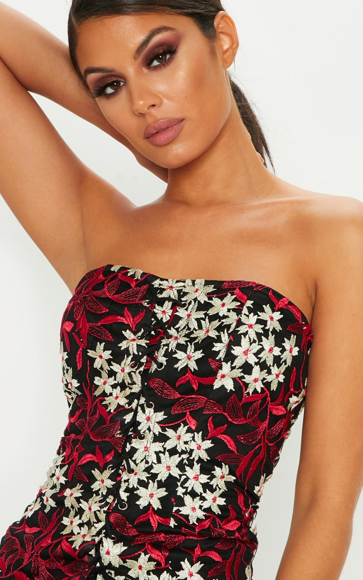 Black Embroidered Lace Up Corset Top 4
