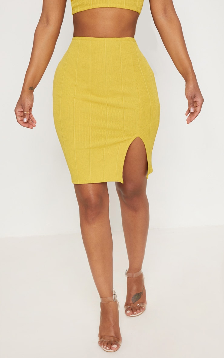 Shape Chartreuse Bandage Bodycon Skirt 2