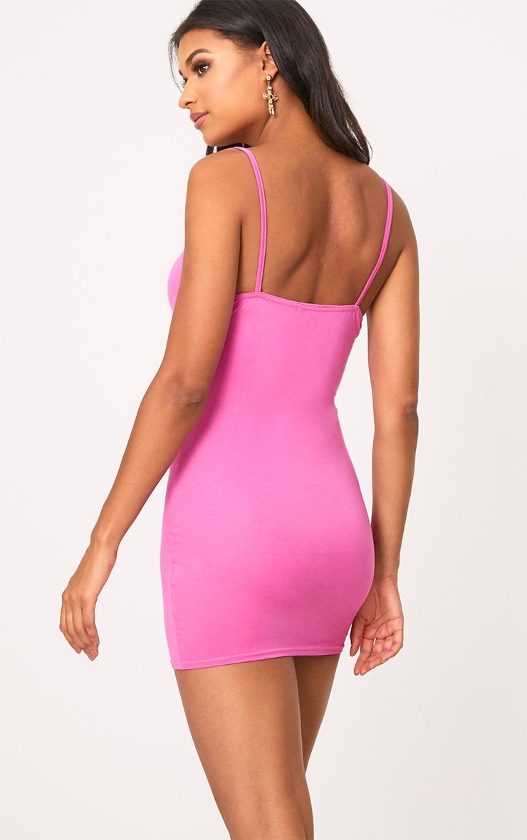 Hot Pink Basic Strappy Bodycon Dress 2