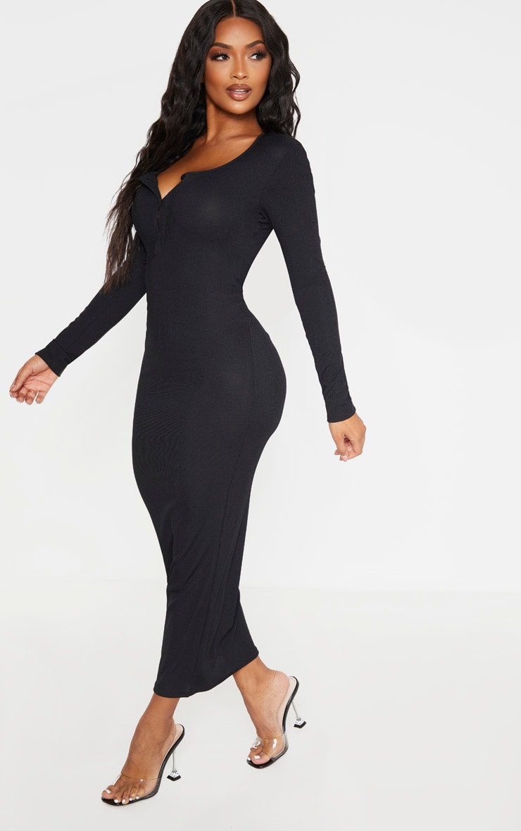 Shape Black Ribbed Button Front Long Sleeve Midaxi Dress 3