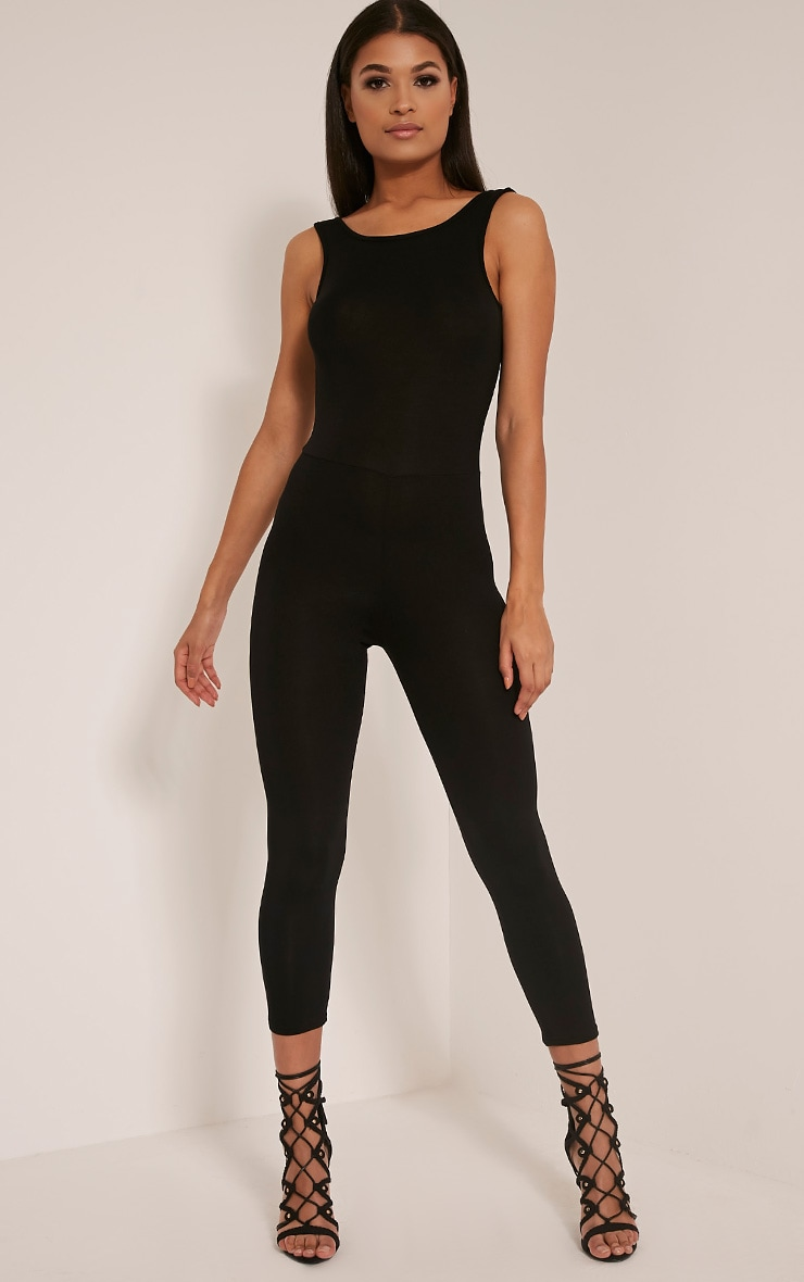 Katie Black Scoop Back Fitted Cropped Leg Jumpsuit 1