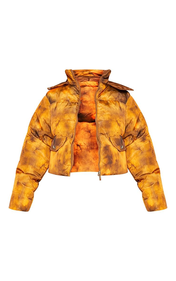 Orange Tie Dye Nylon Hooded Puffer Jacket 6