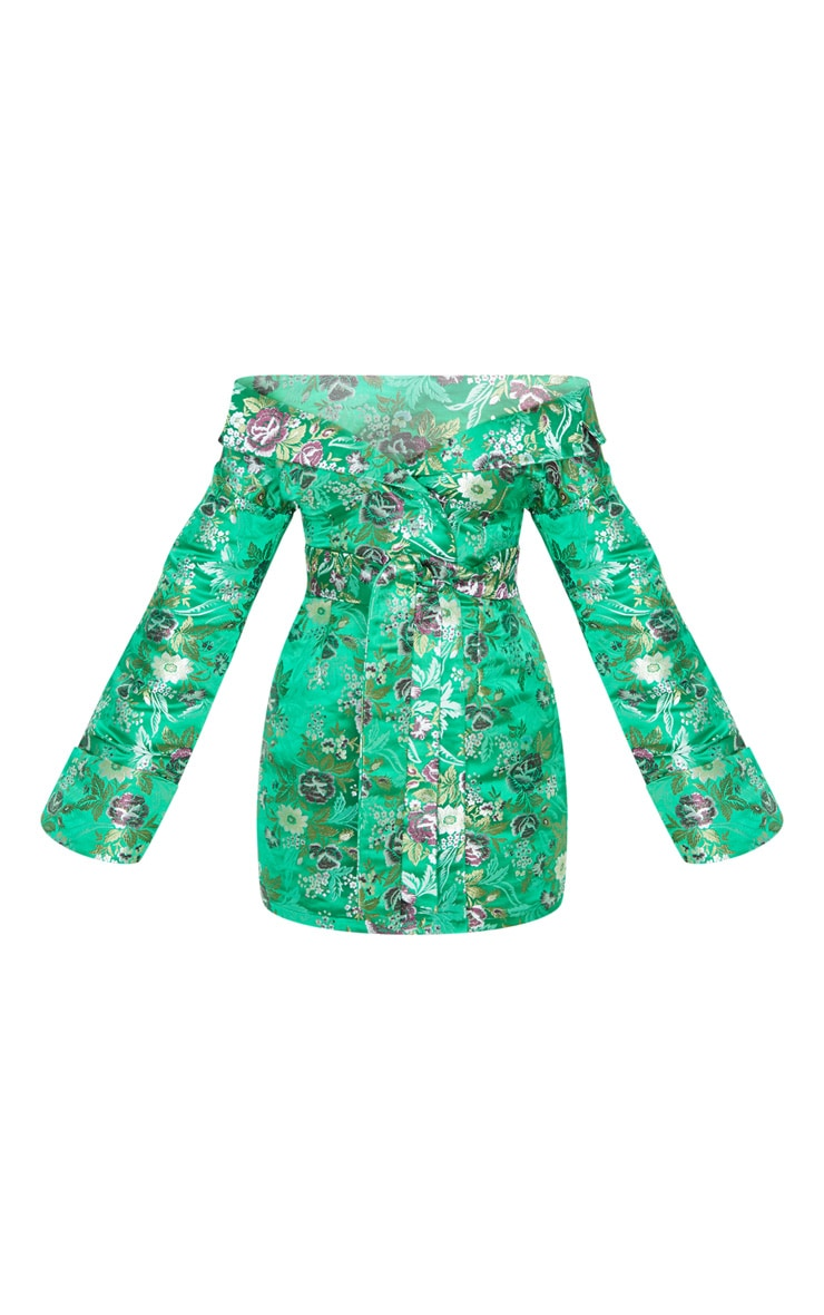 Green Bardot Oriental Bodycon Dress 3