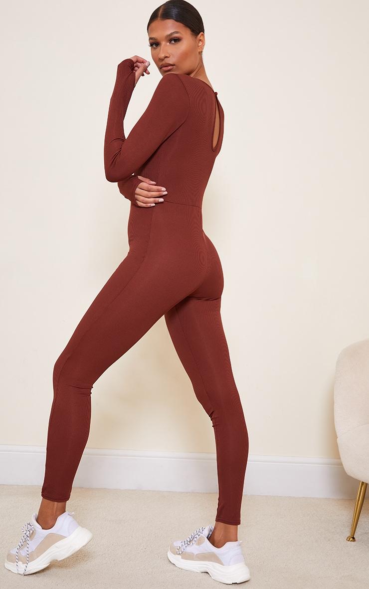 Chocolate Rib Long Sleeve Thumb Hole Jumpsuit 2