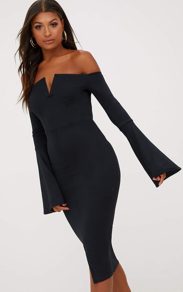 Black Bardot Flared Sleeve Midi Dress 1