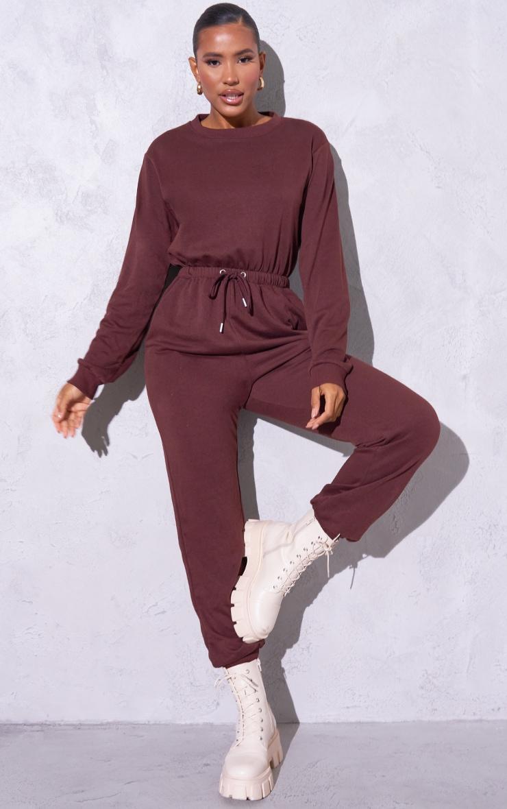 RENEW Chocolate Long Sleeve Sweat Jumpsuit 1