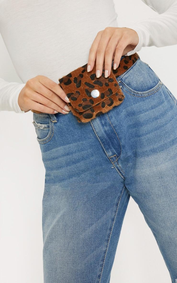 Leopard Faux Pony Hair Square Pouch Belt Bag