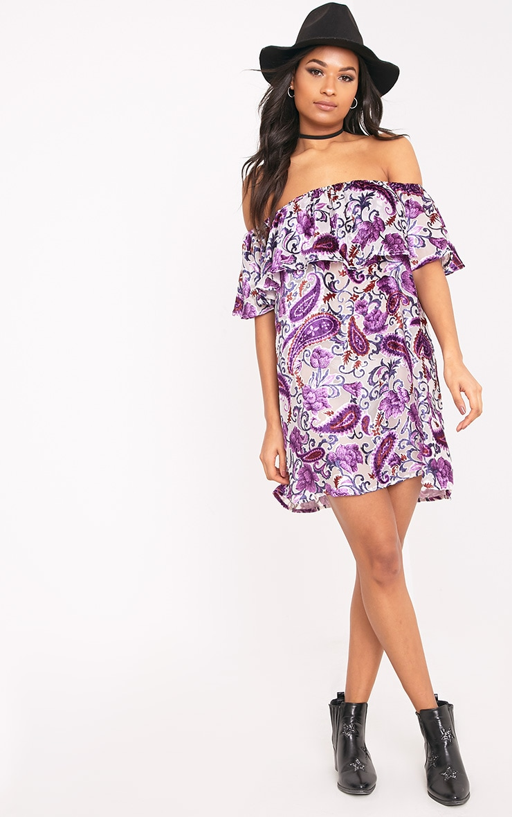 Lenayaa Printed Devoree Bardot Shift Dress Purple 4
