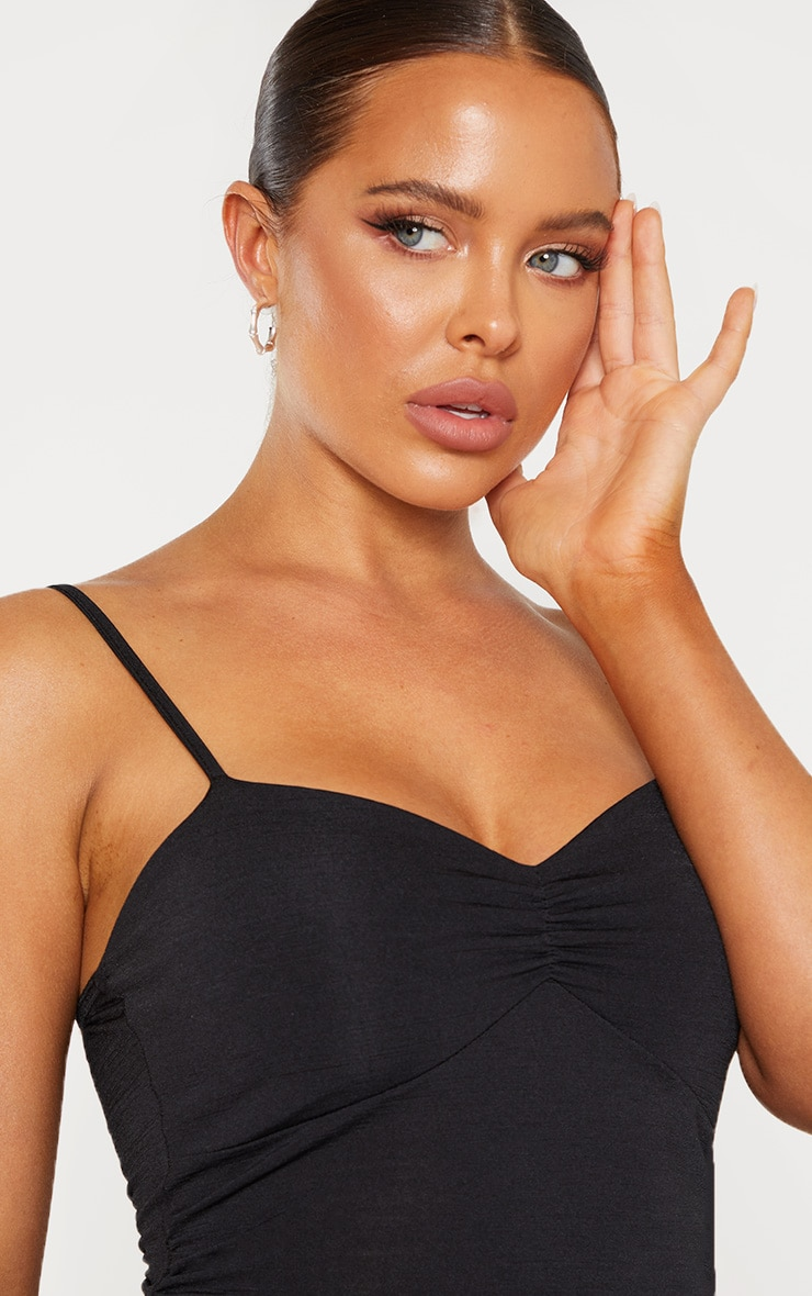 Black Slinky Strappy Ruched Bodysuit 5