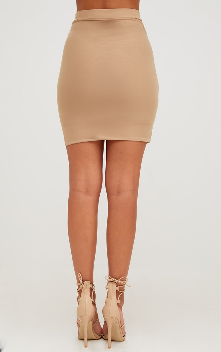 Sabina Stone Ruched Layered Slinky Mini Skirt 4