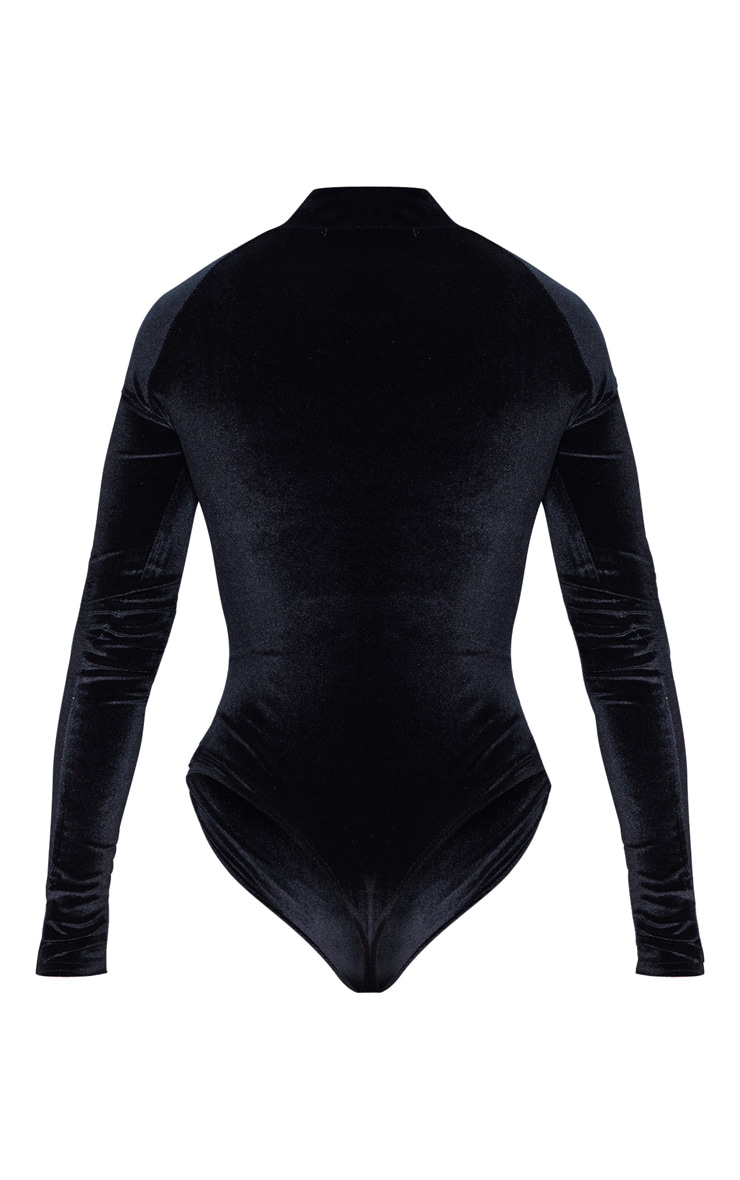 Black Velvet Zip High Neck Long Sleeve Bodysuit 4