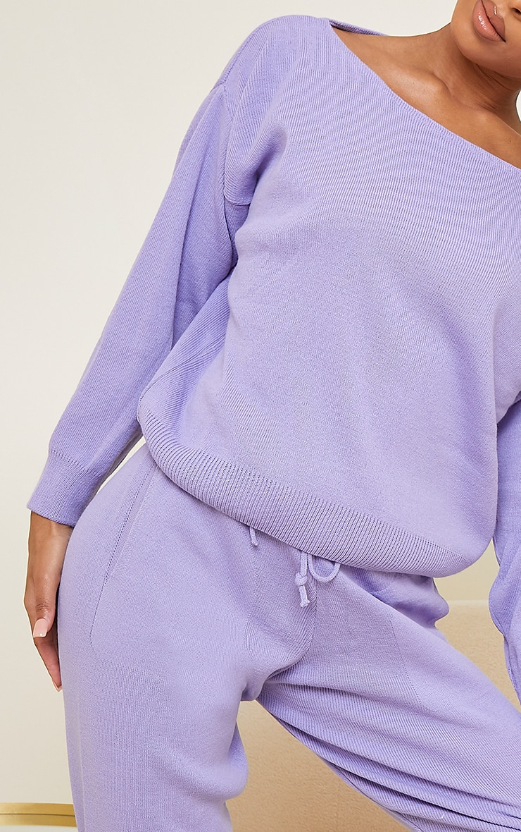 Lilac Slash Neck Knitted Set 4