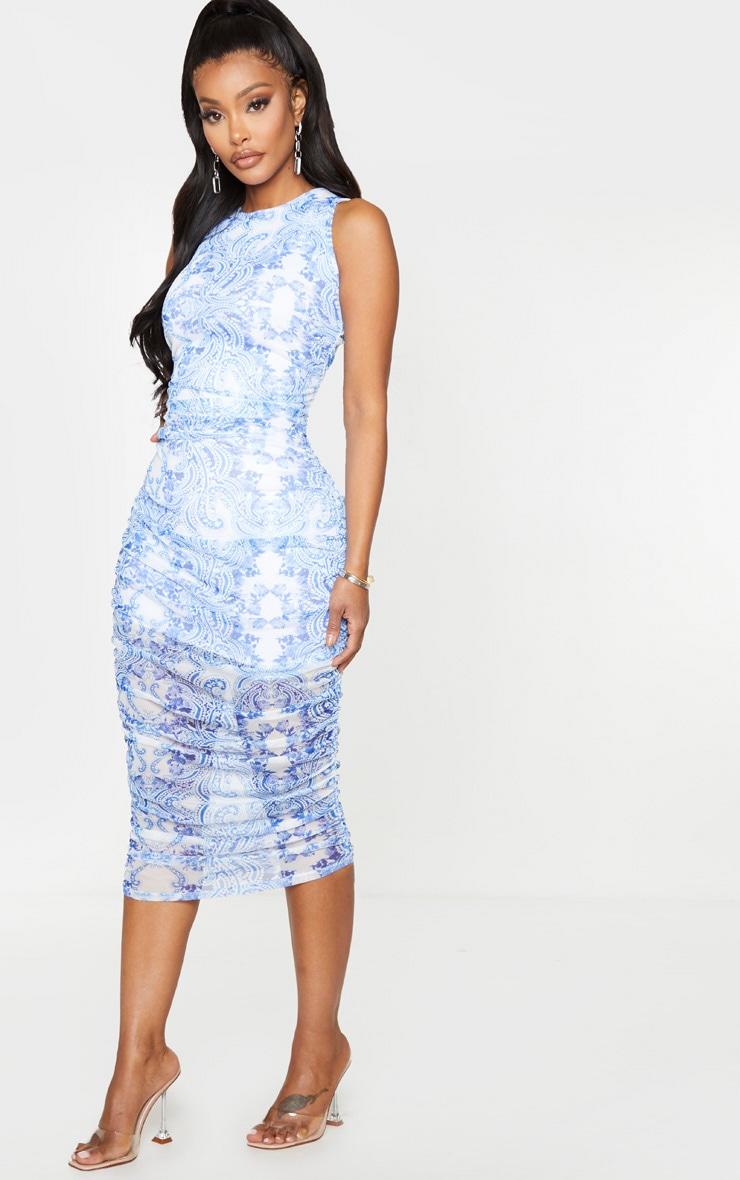 Shape Blue Porcelain Print Sleeveless Midi Dress 4
