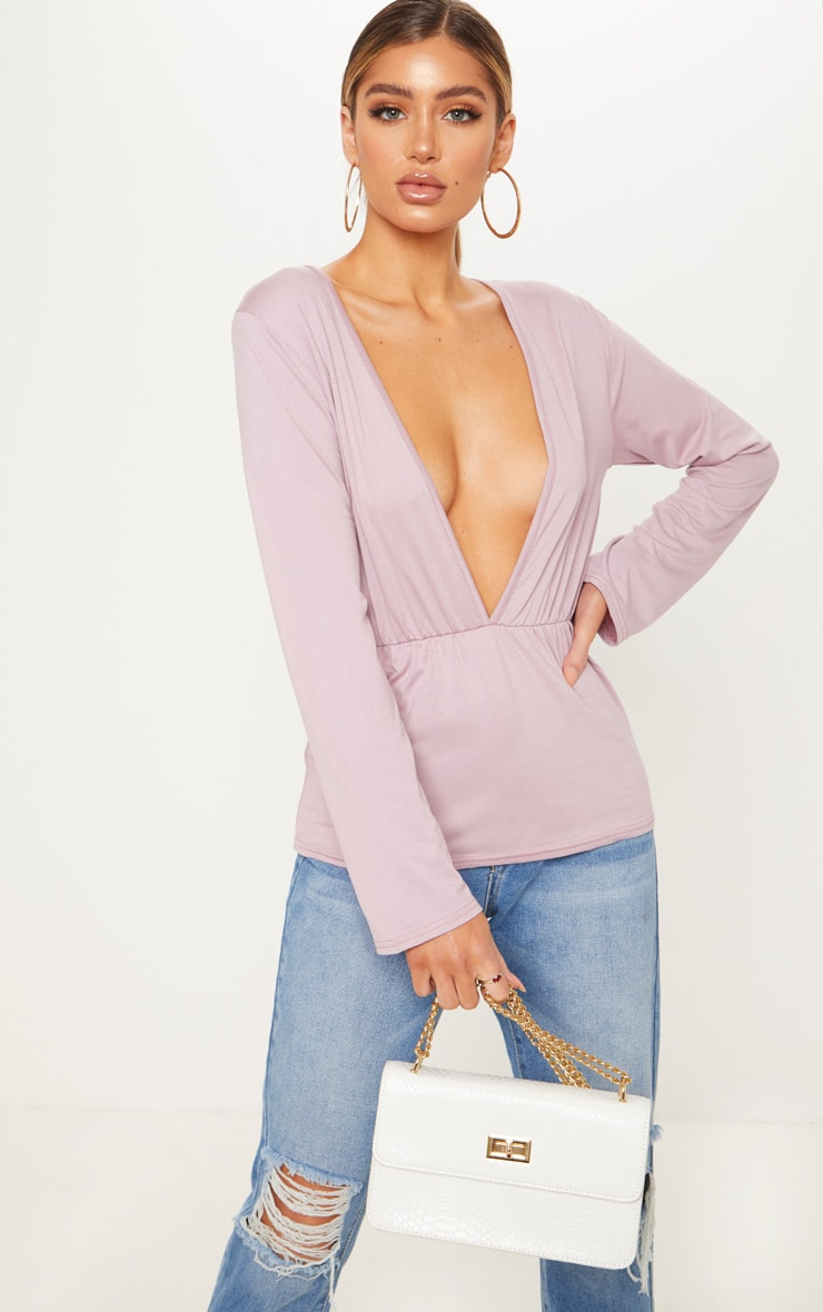 mauve deep plunge top