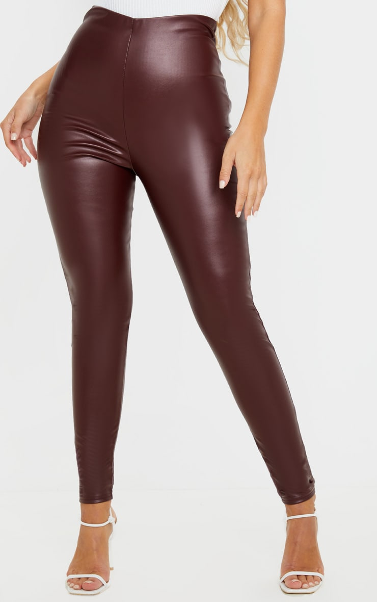 Burgundy Faux Leather High Waisted Legging  2