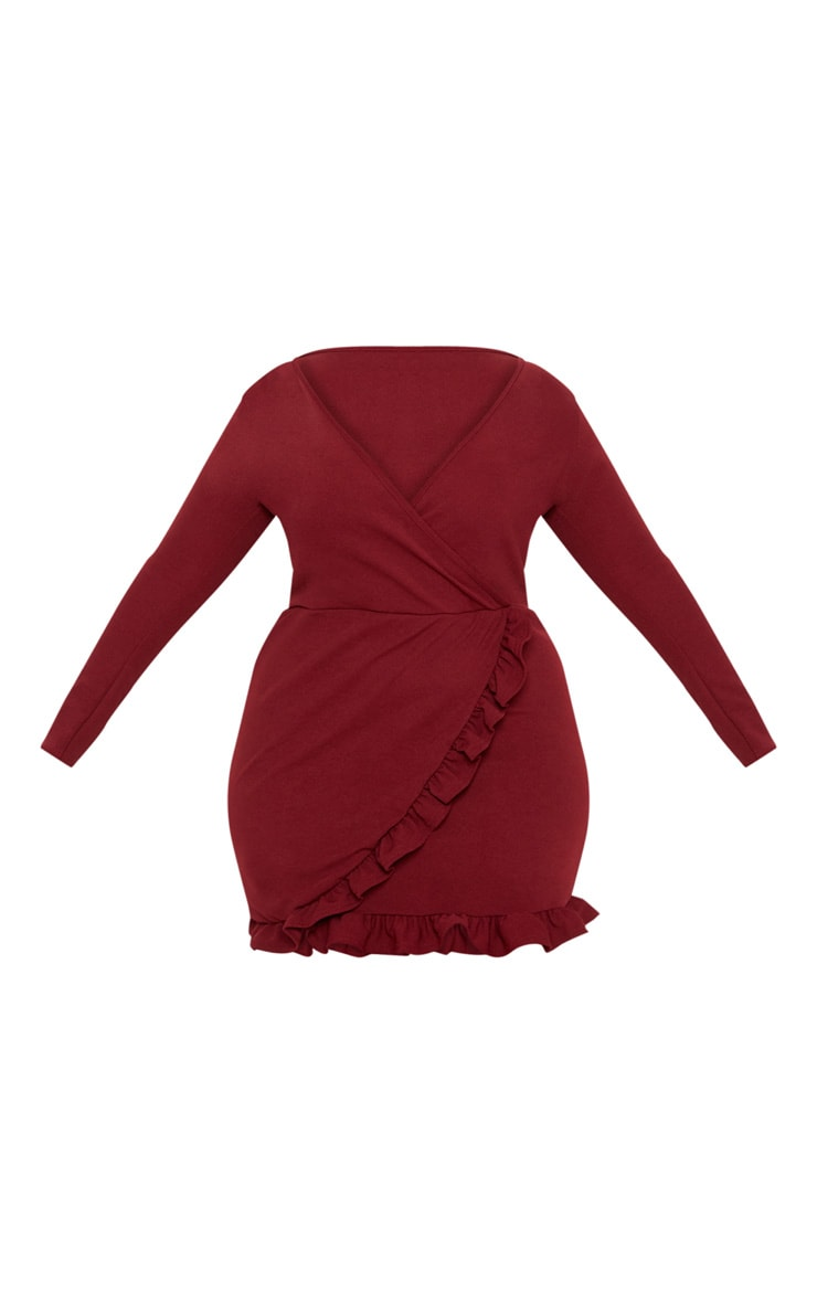 Plus Burgundy Ruffle Detail Wrap Dress 3