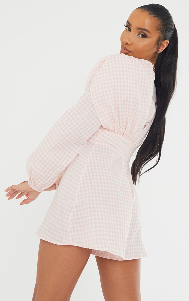 Pink Gingham Ruched Shoulder Button Front Playsuit 2