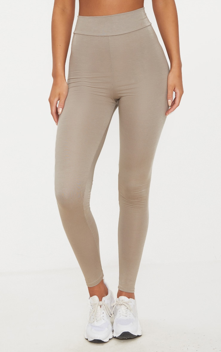 Basic Taupe High Waisted Jersey Leggings 2