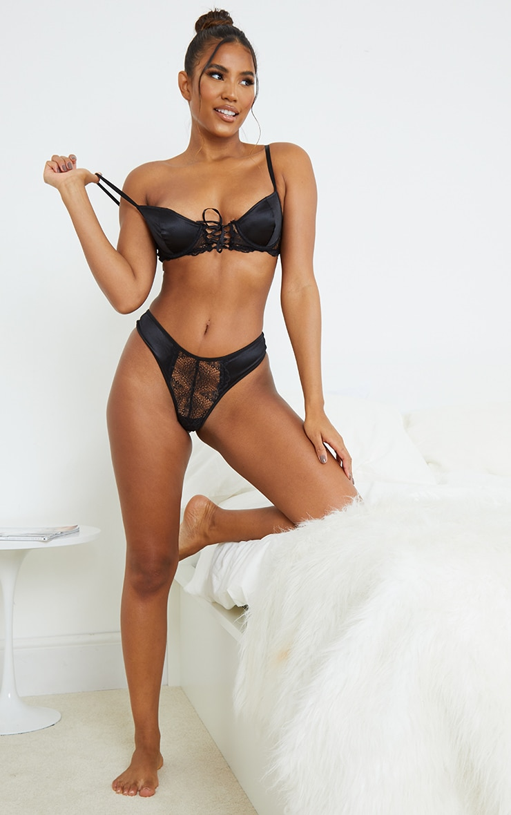 Black Lace Front Panel Satin Thong 3