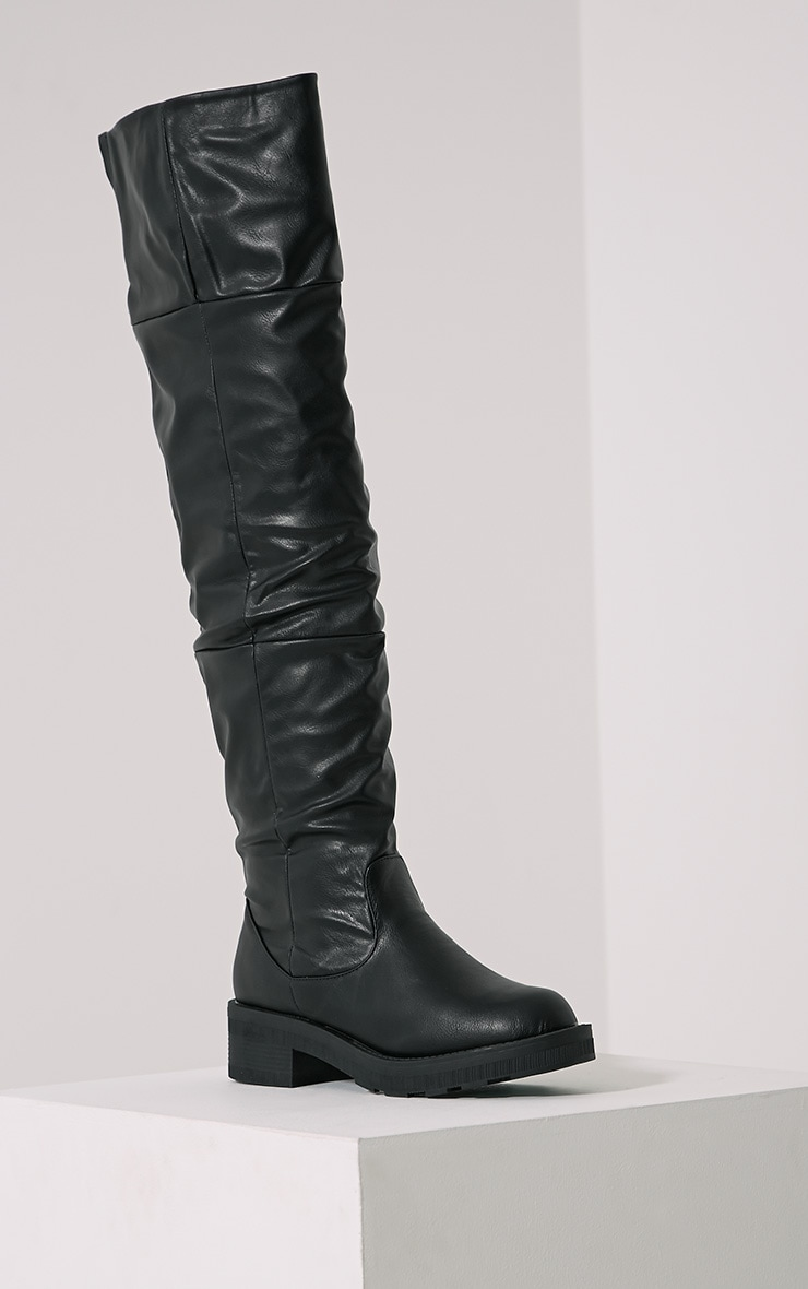 Varley Black Faux Leather Thigh High Flat Boots 3