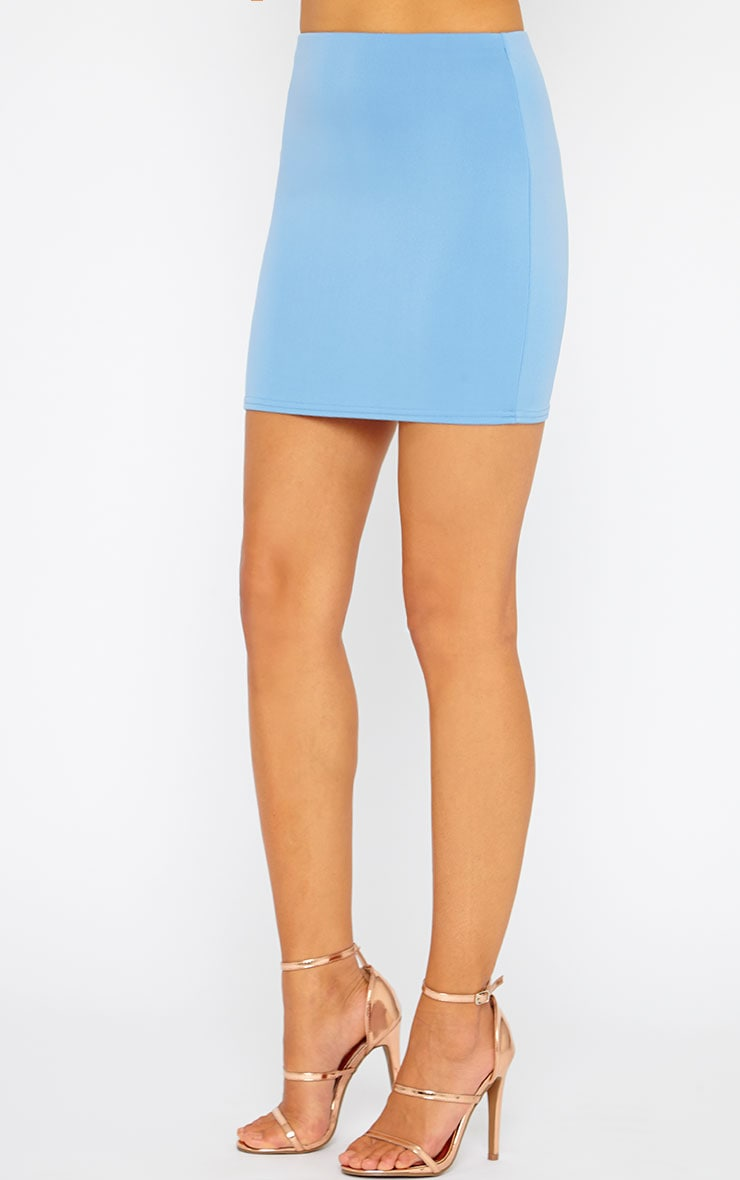 Basic Blue Scuba Mini Skirt 3