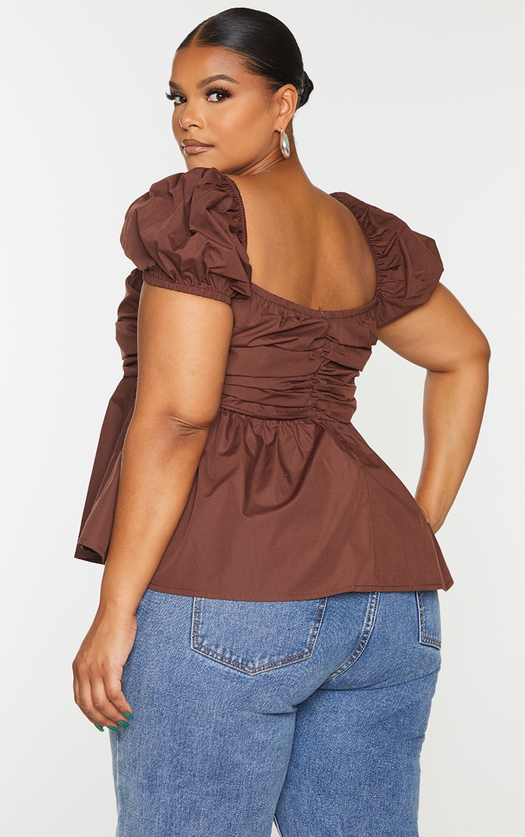 Plus Chocolate Ruched Puff Sleeve Top 2