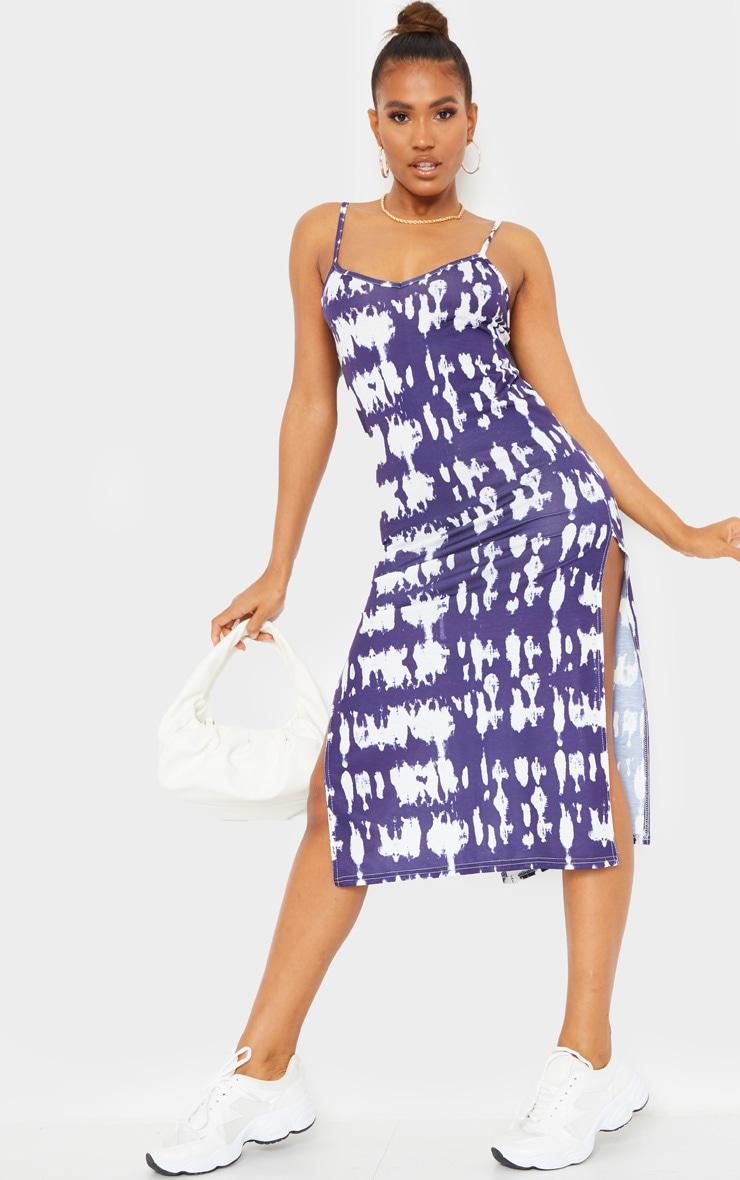 Navy Tie Dye Strappy Side Split Midi Dress 1