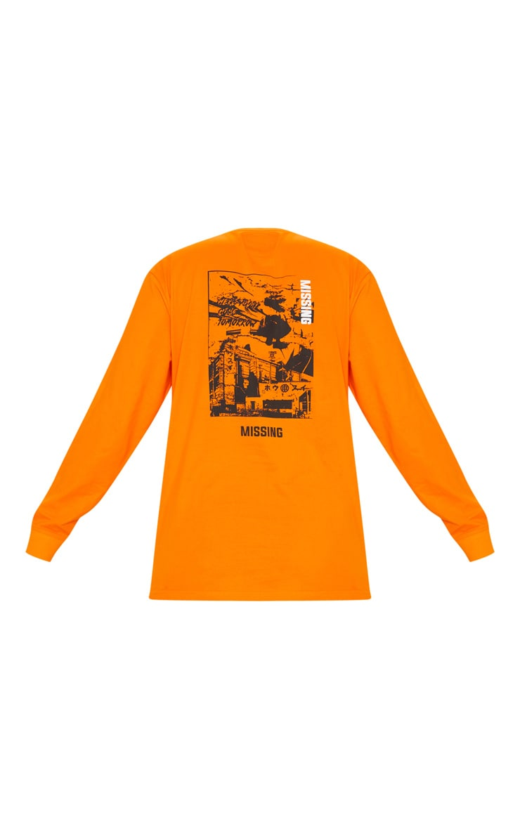 Orange Missing Slogan Printed Long Sleeve T Shirt 3
