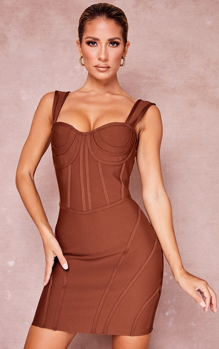 Chocolate Bandage Bust Detail Sleeveless Corset Bodycon Dress 1