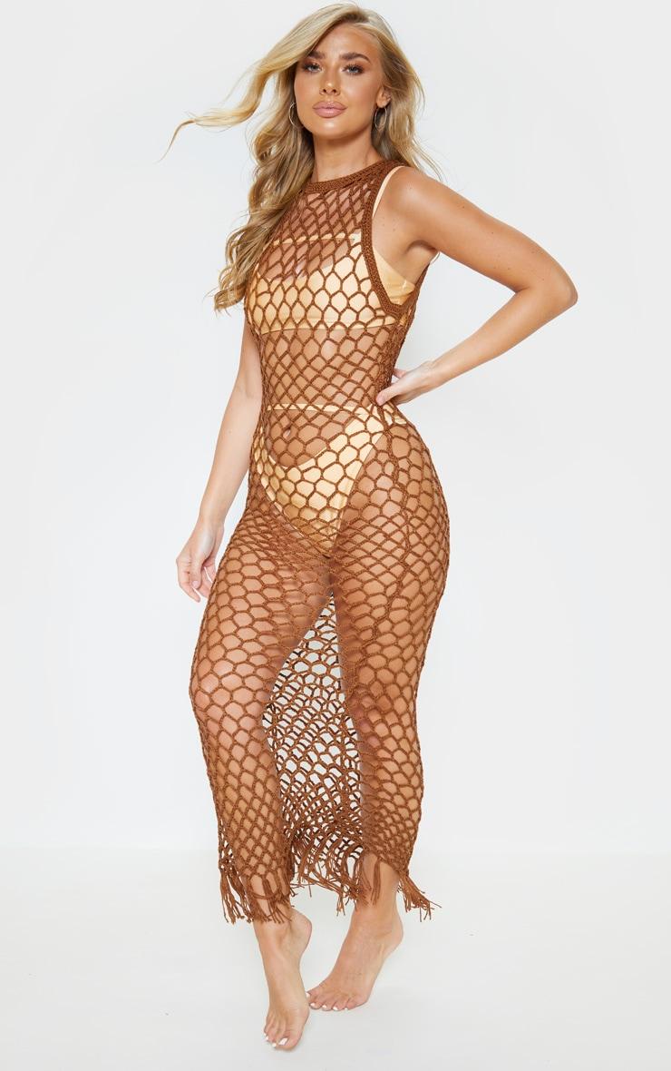 Chocolate Fringe Hem Crochet Maxi Dress 1