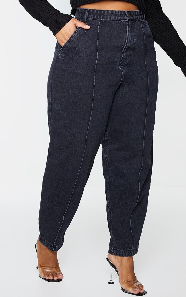 Plus Black Seam Detail Balloon Jeans 2